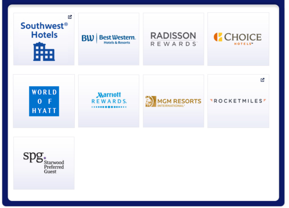 Southwest Rapid Rewards hotel partners.