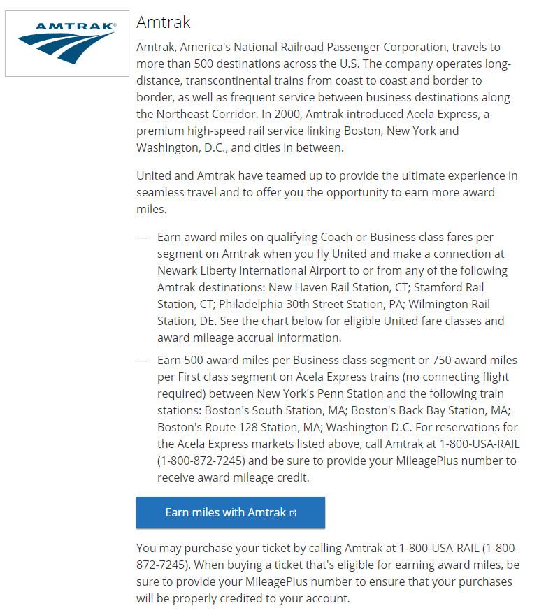 Amtrak United partnership details